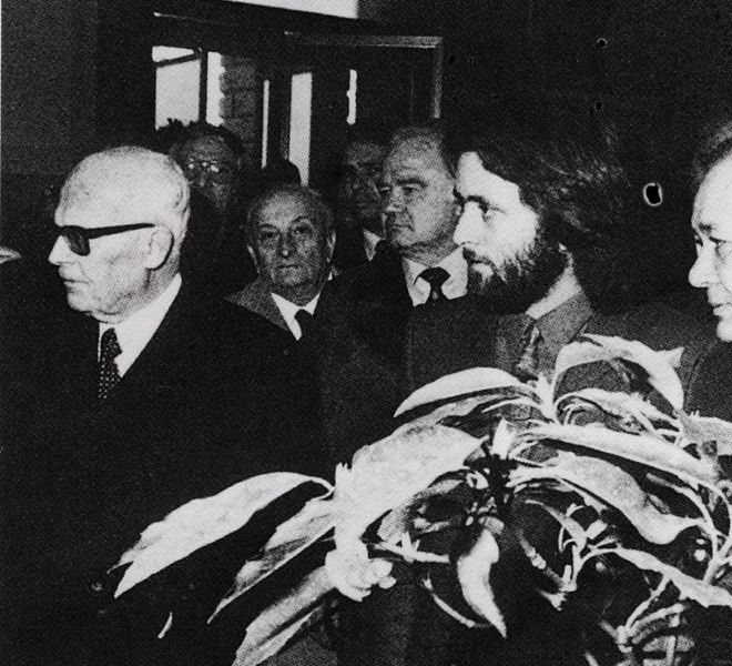 Presidente della Repubblica Italiana Sandro Pertini, Athos Faccincani, Prof. Umberto Tessari - Verona 1981