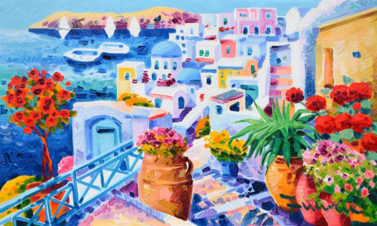L'albero delle rose illumina di sogni e luce a Santorini