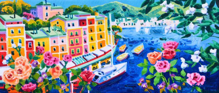 Barche a vela e rose a Portofino