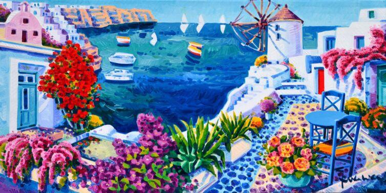 Il mulino nella luce di Santorini