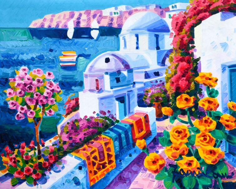 Racconto di rose intorno a Santorini