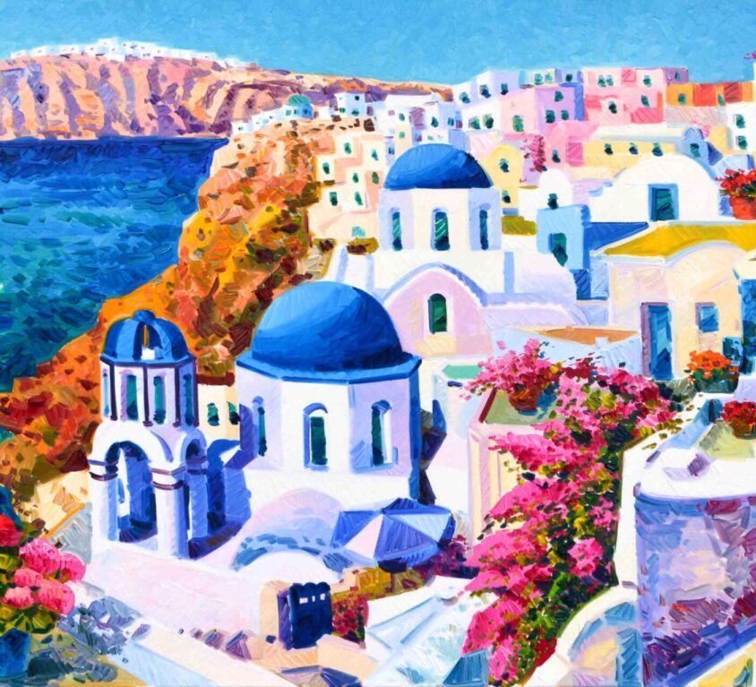 I gerani raccontano i sogni di Santorini