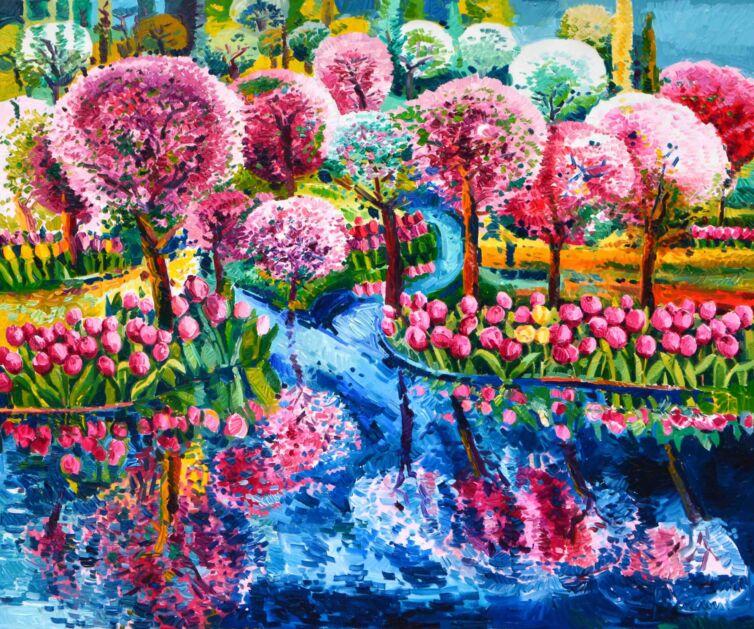 Riflessi di tulipani e peschi nel ruscello